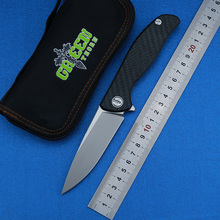 лучшая цена Green thorn 95 HATI Flipper folding knife M390 steel bearing titanium CF 3D handle camping hunting outdoor fruit Knives EDC too
