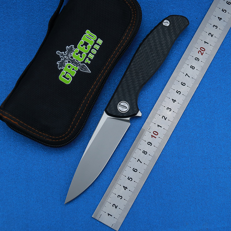 Green thorn <font><b>95</b></font> HATI Flipper folding <font><b>knife</b></font> M390 steel bearing titanium CF 3D handle camping hunting outdoor fruit <font><b>Knives</b></font> EDC too image