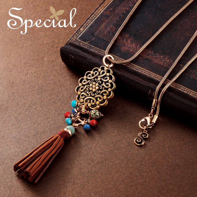 Special Fashion Gold Maxi Necklace PU Leather Long Necklace Bohemian Tassel Pendants Jewelry Gifts for Women XL150906