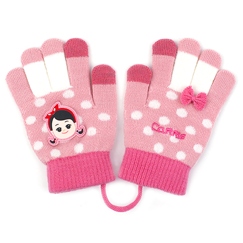 Korean Winghouse Children's Gloves Cartoon Character Knitted Five-finger Gloves Girl Winter Hanging Rope Touch Screen Gloves