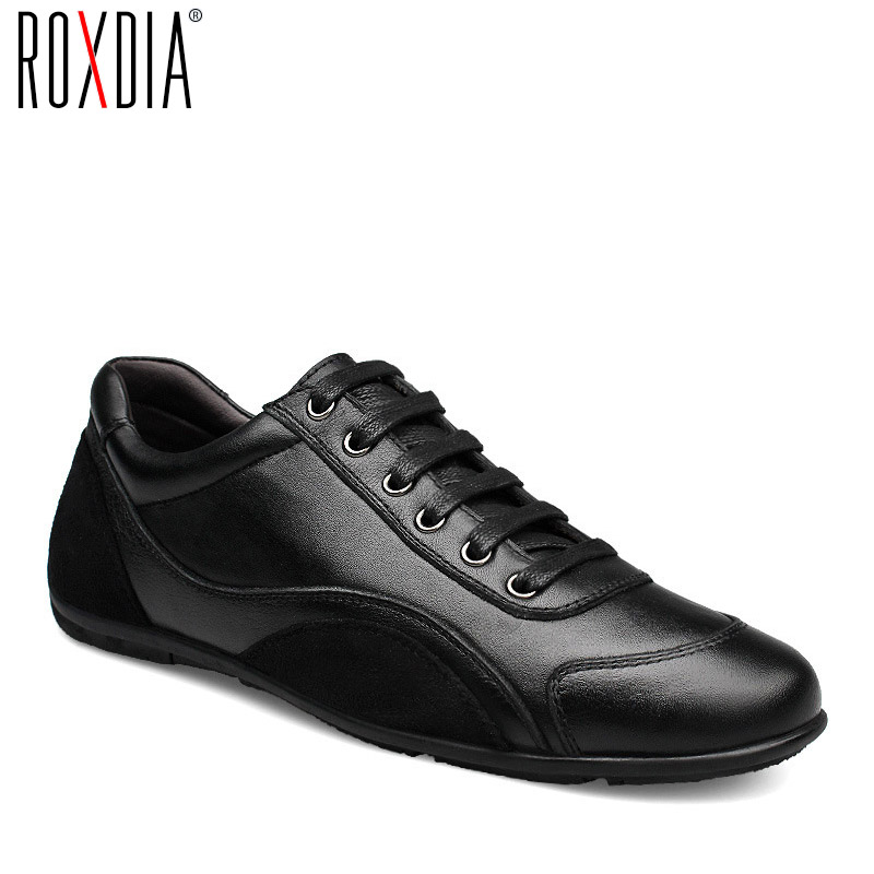 ROXDIA genuine leather first grade cow leather mens flats spring autumn winter men casual flat man shoes plus size 39-48 RXM040
