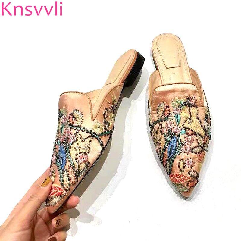 New Embroidery Rhinestone Flowers Flat Slippers Woman Black Khaki Satin Pointed Toe Shoes Fashion String Bead