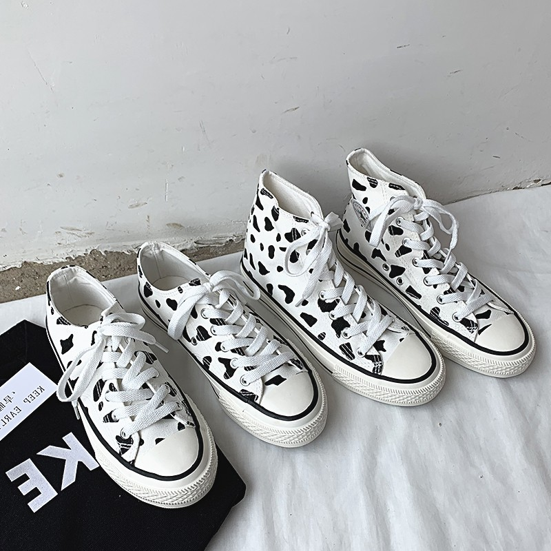 Women's Flats Sneakers Shoes Cow Graffiti Lace-up Platform Printed Canvas Shoes For Summer