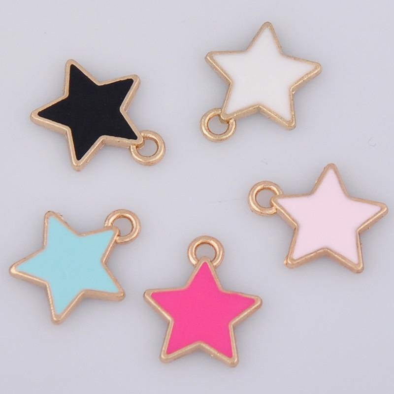 10 Stücke 14*16mm Diy Emaille Star Charms Koreanische Schmuck Zubehör Kc Gold Legierung Kleine Armband Anhänger Mode Sterne Baumeln Finding Chinesische Aromen Besitzen