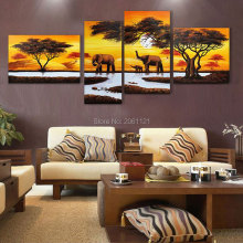 1hand painted abstract africa landscape oil painting elephants canvas art wall picture for living room decoration 3 panels