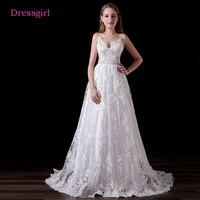 Backless Vestido De Noiva 2017 Beach Wedding Dresses A Line Spaghetti Straps Lace Cheap Boho Wedding