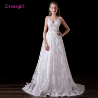 Backless Vestido De Noiva 2017 Beach Wedding Dresses A Line Spaghetti Straps Lace Cheap Boho Wedding