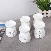 Mini Love Heart Ceramic Aroma Lamp Hollowing Candle Furnace Essential Oil Home Furnishing Decoration  E