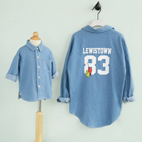 Family Look T Shirt Letter Number Print Denim Shirt Family Matching Clothing Mother Daughter Clothes Hot