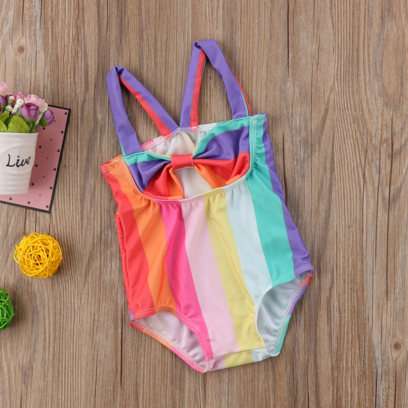 Kids Baby Girl Bow Stripe Swimsuit Swimwear Bathing Suit Beachwear Bikini 1Pc Baby Girl Casual Sleeveless Romper