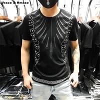 Rhinestone rivet retro printing fashion boutique short sleeve t shirt Summer 2018 New high quality silk cotton t shirt men M 5XL