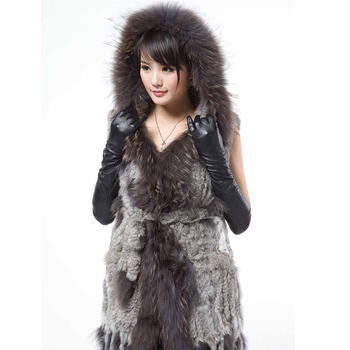 harppihop Fashion classic rabbit fur vest real fur  outerwear fur knitted tassel long design hooded vest without belt