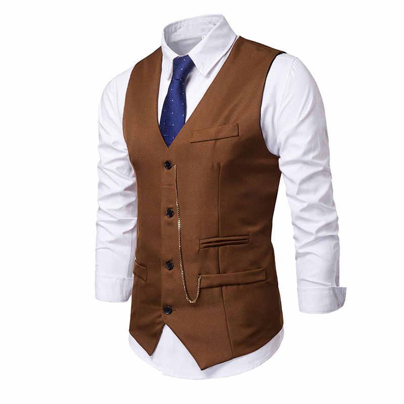 Yufeiyan Men Business Vest Suit Casual Brown EU Size Vest Single Breasted Slim Fit Party Dress Waistcoat Vest Suit Men