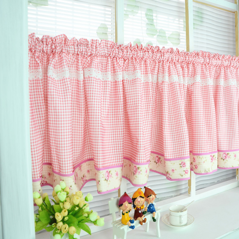 Free Shipping Elegant Floral Red Plaid Lace Pastoral Short Curtain Kitchen Curtains For Living Room Bedroom Drapes Customized
