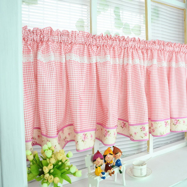 US Free Shipping Elegant Floral Red Plaid Lace Pastoral Short Curtain Kitchen Curtains For Living Room Bedroom Drapes Customized In Curtains