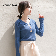 Young Gee Women Knitted Sweater Spring Autumn Winter Fashion Basic Long Sleeve Crew Neck Pullovers Tops Jumper Pull sueter mujer