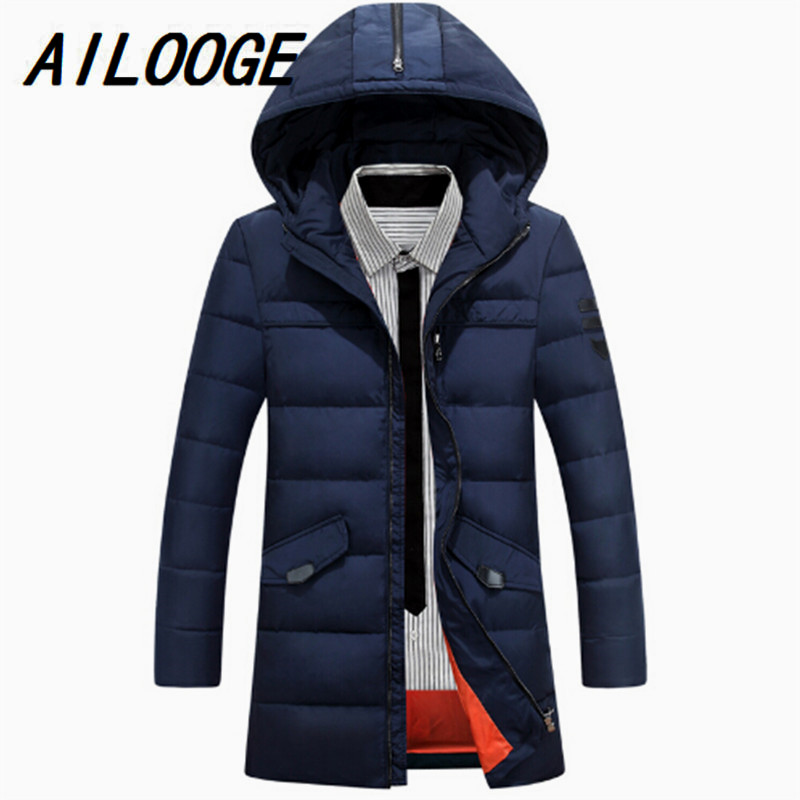 Men Thick Down Parka Wholesale 2016 Winter Warm Men Down Jacket Patchwork Top Quality White Duck Down Coats Hooded Outwear