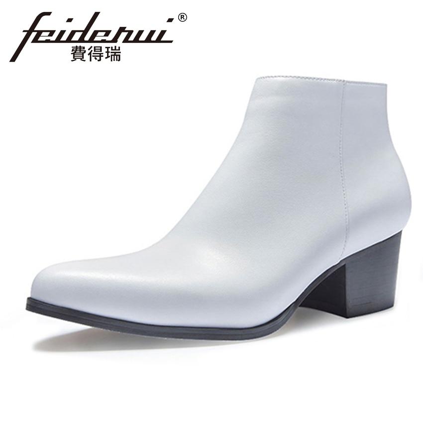 купить High Quality Genuine Leather Men's Ankle Boots Pointed Toe High-Top High Heels Footwear Handmade Man Cowboy Riding Shoes HQS225 недорого