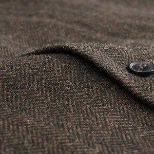 Image 4 - Мужской твидовый шерстяной жилет VOBOOM, приталенный однобортный жилет в елочку из смеси шерсти, кофейно коричневого цвета, 018