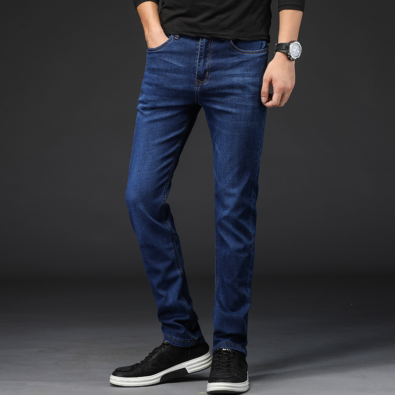Men Jeans High Quality Famous Brand Stretch Straight Slim Fit Blue Mens Jeans Classic Denim Casual Pants Long Trousers