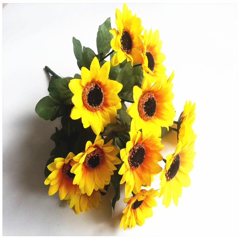 sunflower artificial silk flower yellow fake sunflower bouquet wedding bouquet bridal bouquets home wedding decoration
