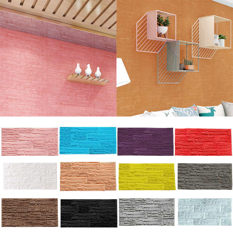 Pe Foam 3d Wallpaper Diy Wall Stickers Wall Decor Self Adhesive DIY TV Background Kids Living Room Wallpaper Roll