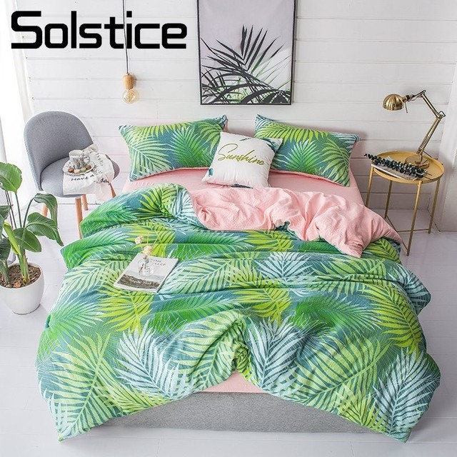 Solstice Home Textile Green Palm Frond Pink Duvet Cover Pillowcase Flat Bed Sheet Girl Kid Adult Woman Bedding Linens Sets Queen