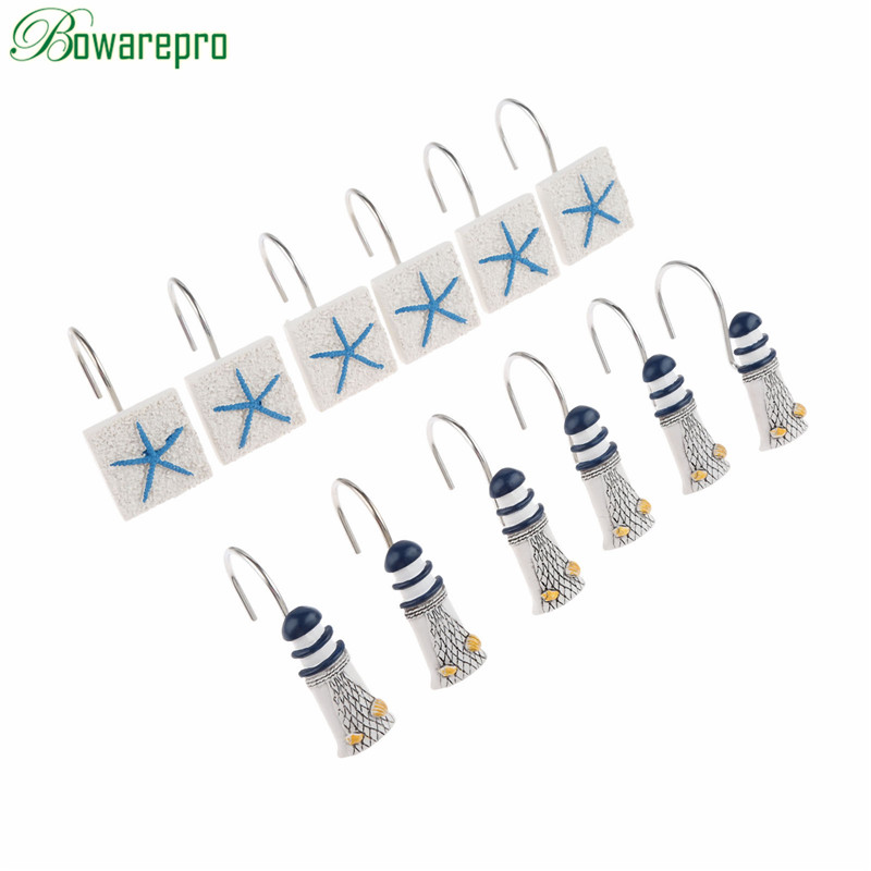 bowarepro 12PCS Shower Hooks Curtain Hook Drapery Valance Hanger Home Cafe Hotel/Student Dormitory Decor 3D Lighthouse/Starfish mymei london big ben pattern shower curtain bathroom waterproof fabric home decor