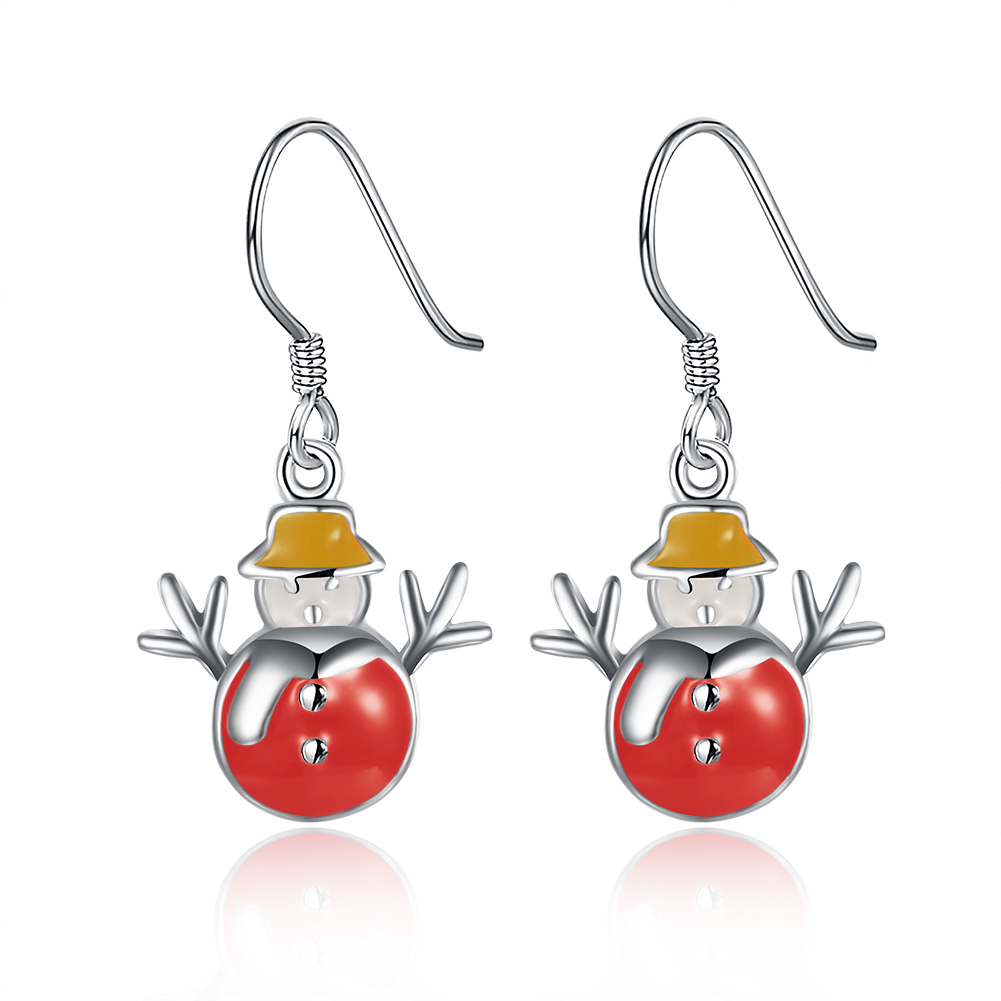 Promotion Pretty Red Snowman Yellow Hat Silver Plated Dangle Earrings For  Teenagers Girls Christmas Gift E831