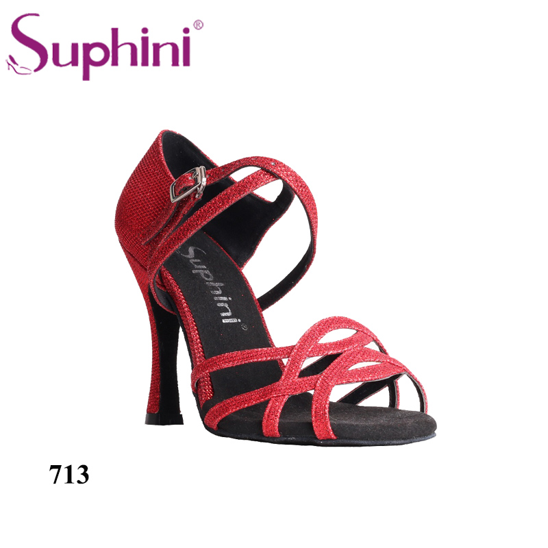 Free Shipping Suphini Salsa Shoes Customer Recommend Latin Dance Shoes Glitter Red Woman High Heel Dance Shoes