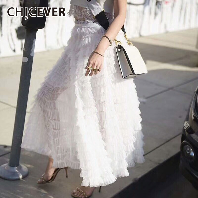 CHICEVER Summer Sweet Mesh Solid Ruffles Ball Gown Women Skirt High Elastic Waist Loose Floor Length Female Skirt 2019 Korean
