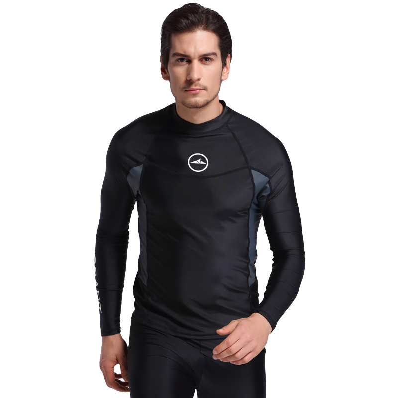 2018 New Nylon Spandex Solid Pesca Submarina Surf Swim Equipment Diving Suit Shirts Wetsuit Tops Men Fishing Bathing Top