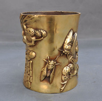 Christmas Chinese Fengshui Brass Cicada Cicadas Pine Tree Statue Brush Pot Pencil Vase Halloween