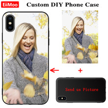 Eiimoo Photo Custom Telefoon Case Voor Iphone Xs Max Xr X Se 2020 Case Siliconen Zwarte Cover Iphone 5 6 S 7 8 Plus 11 Pro Max Foto(China)
