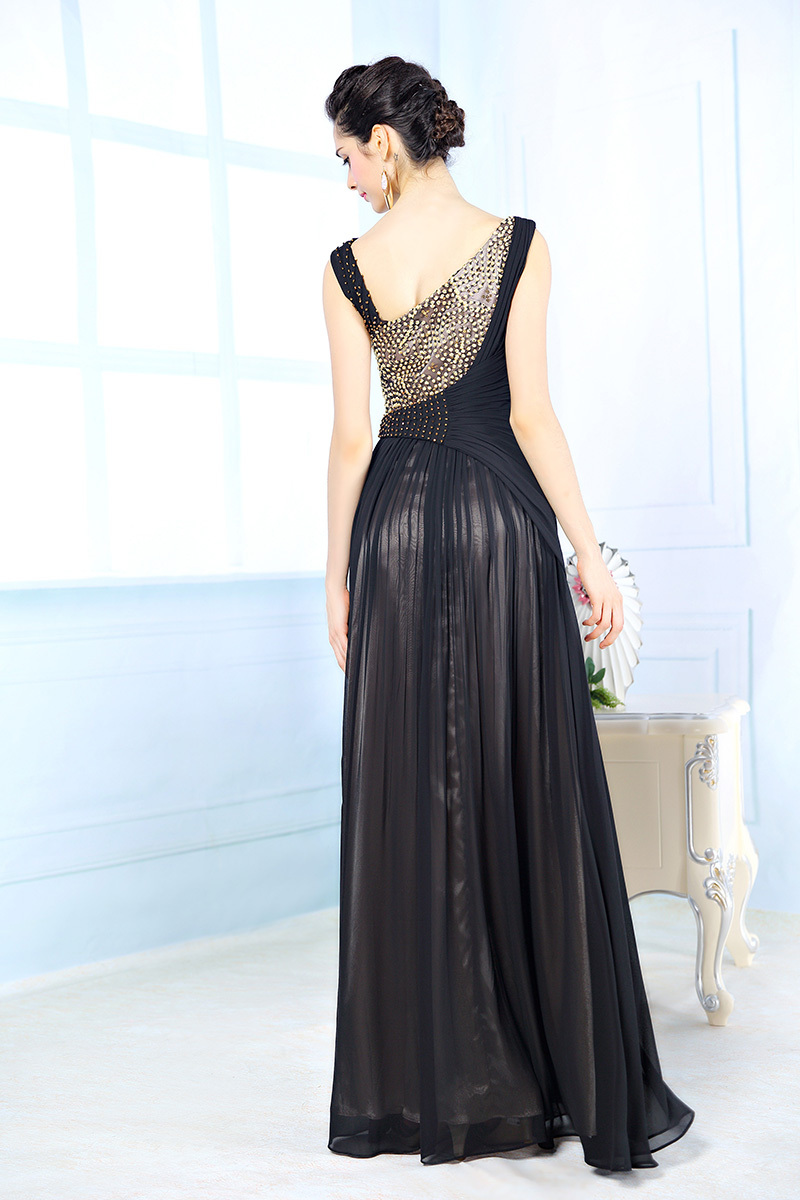 7dccc5eb985 Designer Evening Dresses Sexy V neck Crystal Beaded Dress A line Black  Evening Gowns Satin Chiffon Evening Dress Vestidos 31116-in Evening Dresses  from ...