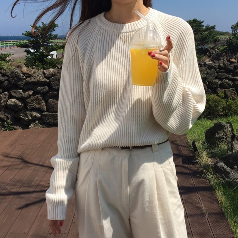 Korean Fashion Ladies Long Sleeve Women Knitting Sweater Solid O-Neck Pullover And Jumper Loose Sweaters C98802J