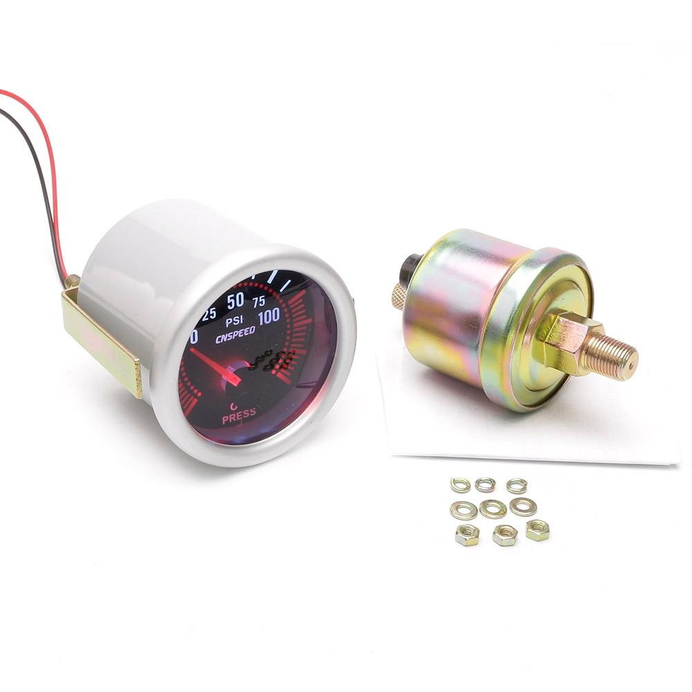 2 52mm Universal Car LED Bar Turbo Oil Pressure Gauge Meter Bar Smoke Tint Lens Red Illuminated Needle Gray