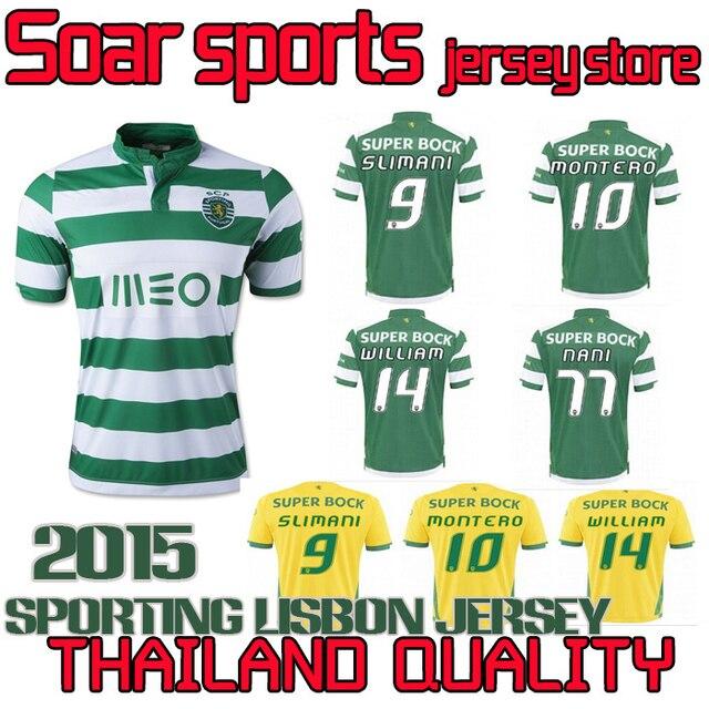 Thai quality Sporting Lisbon 2015 soccer jersey Sporting Lisbon SLIMANI 9  MONTERO 10 WILLIAM 14 NANI 77 jersey free shipping f95999b4d
