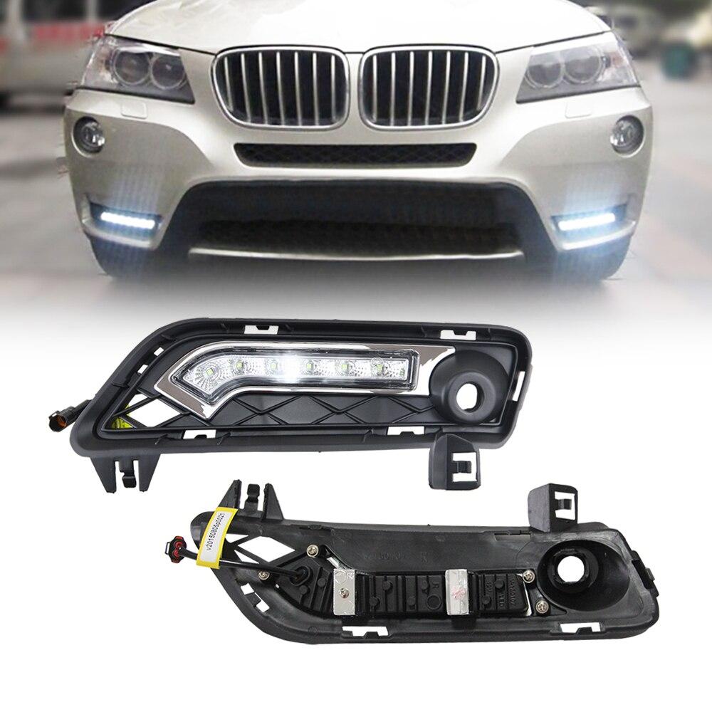 For BMW F25 X3 Series 2011 2014 LED Daytime Running Lights Bumper Lamp Waterproof Harness DRL Kit DC12V