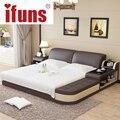 Имя: IFUNS роскошь мебели для спальни современный дизайн король и королева размер натуральная кожа кровать с татами хранения и двойной кровать кадр