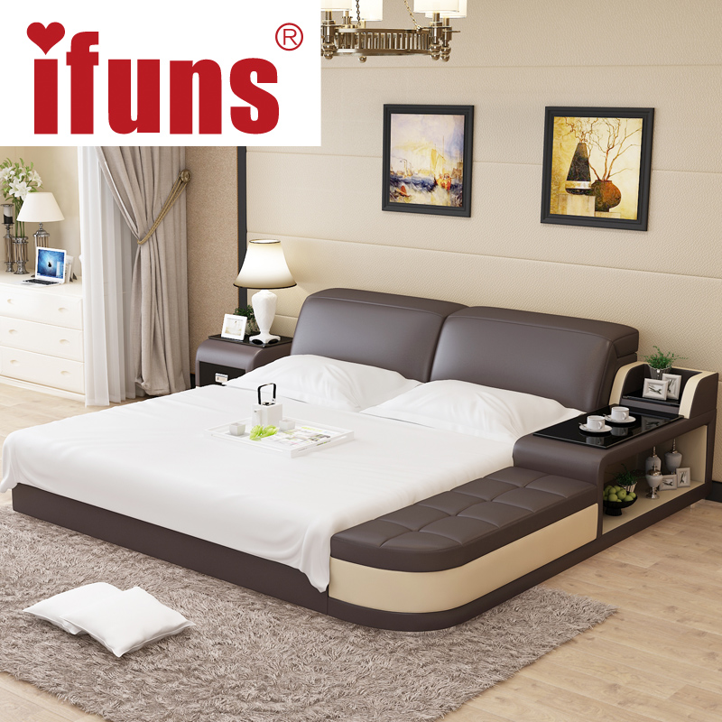 nameifuns luxury bedroom furniture modern design kingqueen size genuine leather bed with tatami storage and double bed frame - Leather Bed Frame