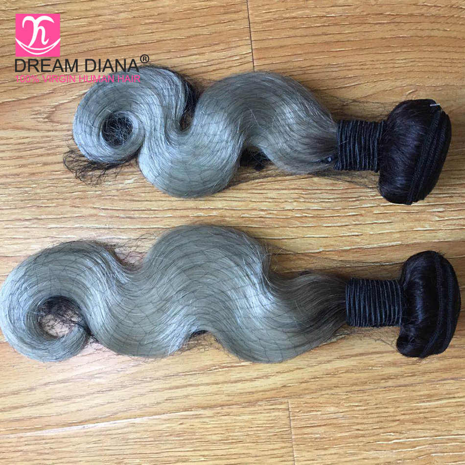 DreamDiana Ombre Body Wave 1B Grey Bundles 3/4 Pieces Grey Brazilian Hair 100% Ombre Human Hair Remy Weave Dark Roots Gray Hair