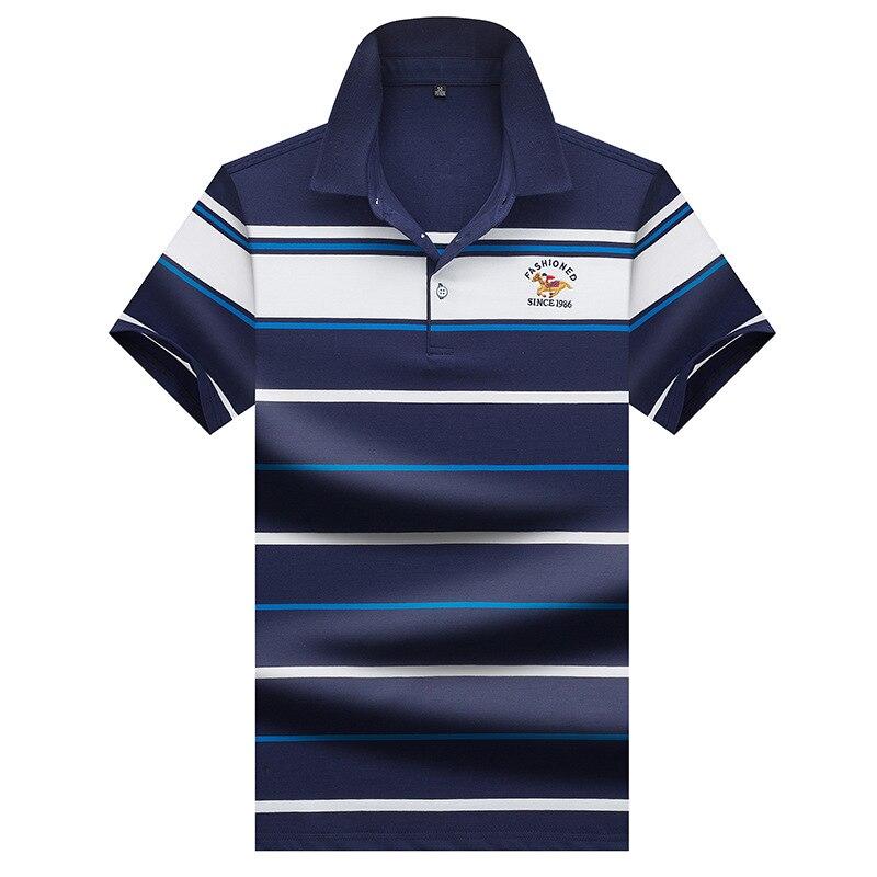 Summer Men's   Polo   Shirts Short Sleeve 2019 Male Fashion Striped Casual   Polo   Shirt Men Brand Slim Fat Clothing   Polos   3XL AE9940