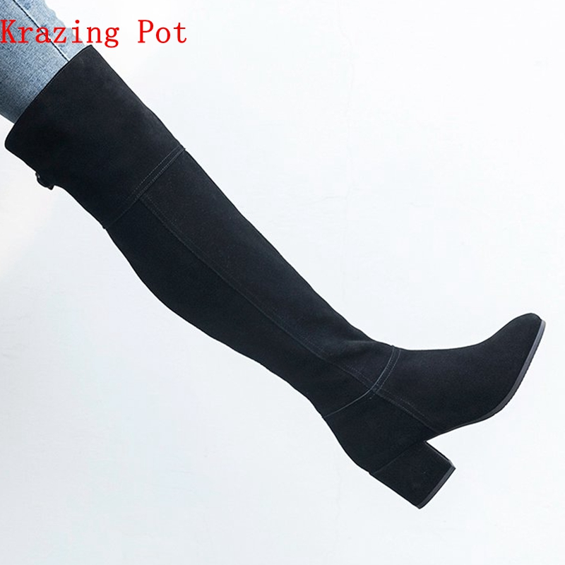 krazing pot cow suede full grain leather round toe high heels thin leg mature lady metal buckle black color thigh high boots L16 krazing pot genuine leather 2018 round toe high heels metal fasteners motorcycle boots mature women round buckle ankle boots l26