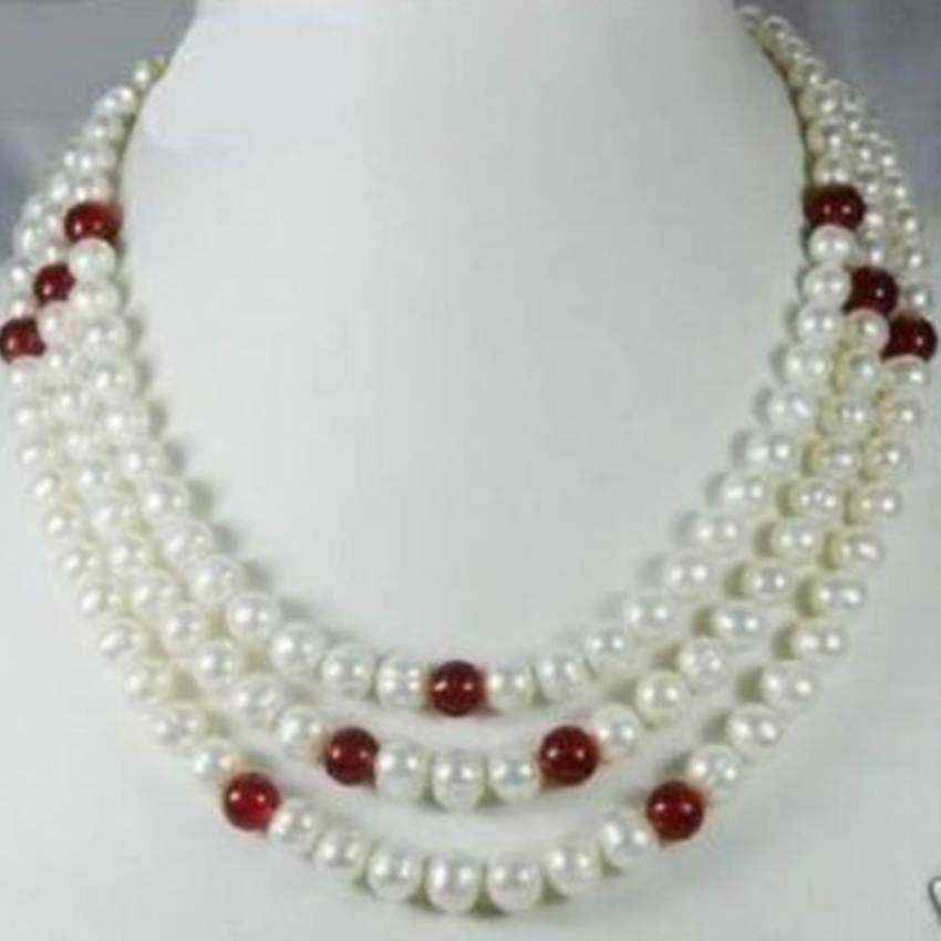 Fashion 3 Row White 7 8mm Freshwater Natural Round Pearl Red Chalcedony Trendy Beads Necklace Jewelry