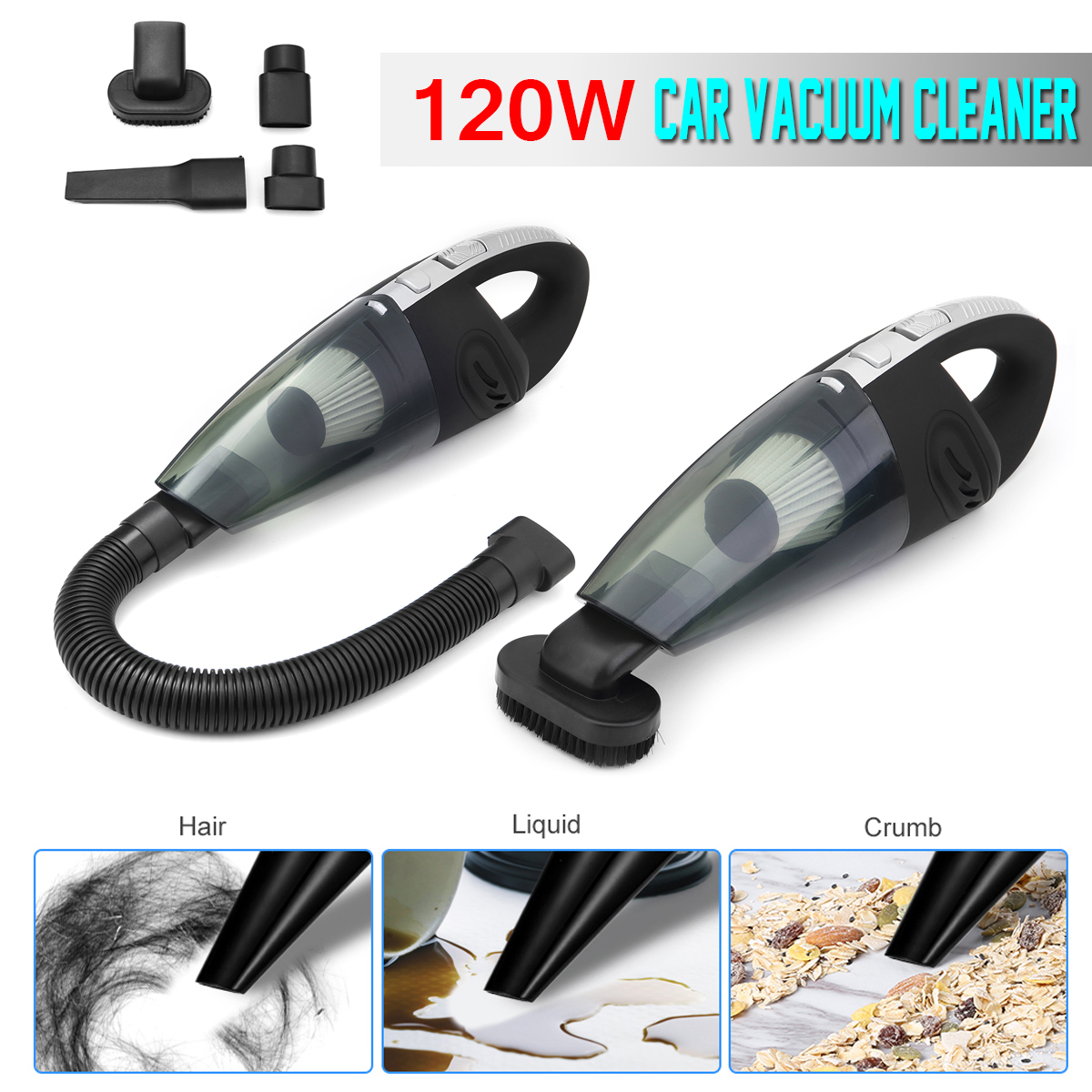 120W Handheld Car Home Cordless Rechargeable Dust Vacuum Cleaner Dry Wet Use With Different Nozzles Detachable Double Filtration120W Handheld Car Home Cordless Rechargeable Dust Vacuum Cleaner Dry Wet Use With Different Nozzles Detachable Double Filtration