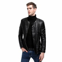 Fashion Men's Leather Jackets And Coats Quilted Pattern Faux-Leather Moto Jacket Slim Clothing For Man