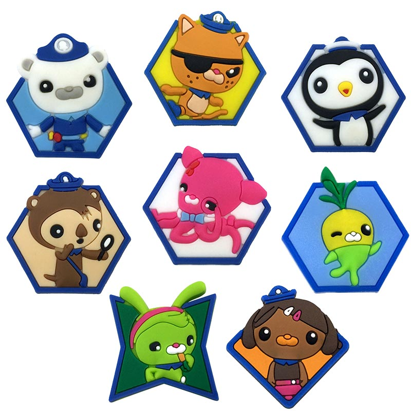 1-8pcs Octonauts Pins badges Brooches Collection DIY Charms Fit Hat Clothes Bags Shoes  Decoration X-mas Party Gift new 1pcs single the secret life of pet decoration pvc pins badges brooches collection diy charms fit clothes bags shoes kid gift