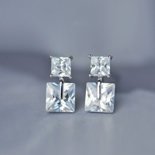 925 sterling silver Stud earrings The size of the square Mosaic Women fashion jewelry wholesale