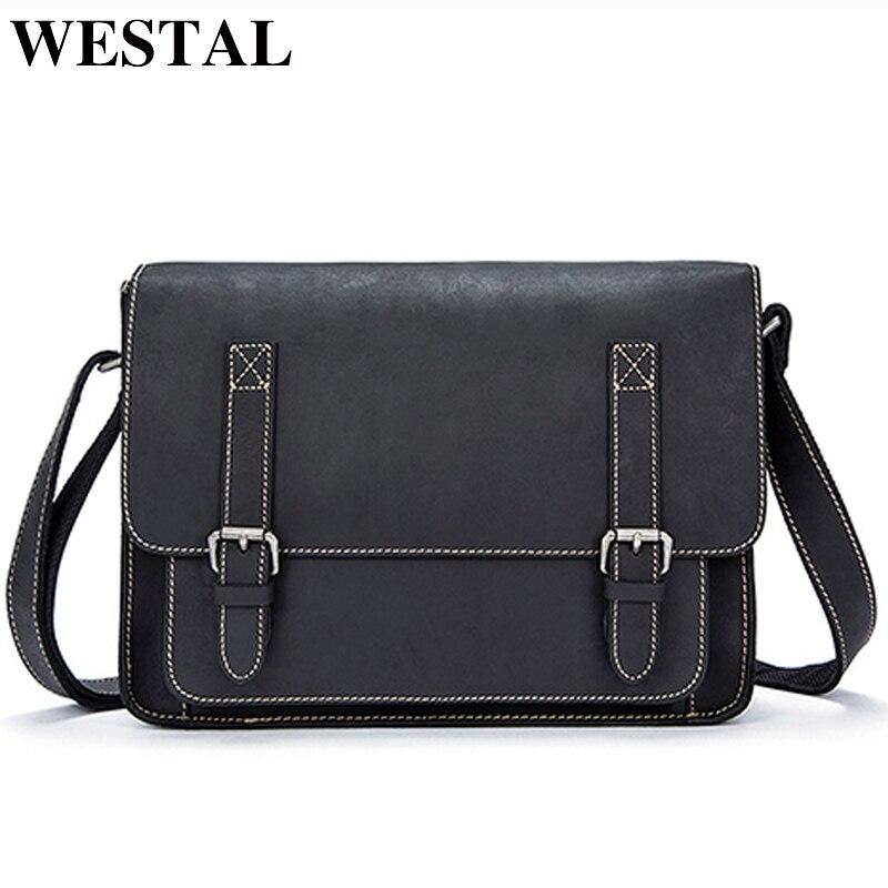 WESTAL Bag Men's Genuine Leather Briefcase Bag For Men's Bussiness Tote Document Handbag Male Designer Messenger Shoulder Bag